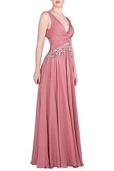 Flamingo Pink Sequins Embellished Gown by Babita Malkani