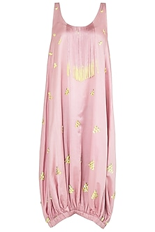 Pink Sequins Embellished Midi Dress by Babita Malkani