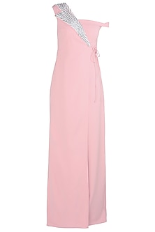 Flamingo Pink Off Shoulder Sequins Jumpsuit by Babita Malkani