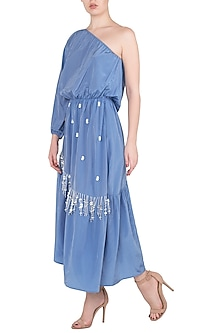 Blue Asymmetrical One Shoulder Ruffled Dress by Babita Malkani