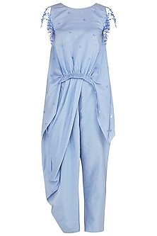 Dusk Blue Asymmetrical Tassel Embellished Top with Draped Pants