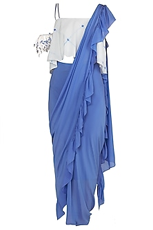 Blue Draped Asymmetrical Saree with White Cold Shoulder Blouse