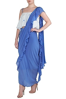 Blue Draped Asymmetrical Saree with White Cold Shoulder Blouse by Babita Malkani