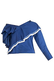 Blue Drop Shoulder Ruffled Top