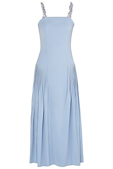 Dusk Blue Embroidered Pleated Midi Dress