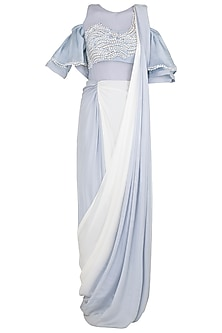 Dusk Blue To White Ombre Embroidered Saree Gown