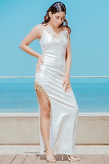 Frosty White Side Slit Gown by Babita Malkani
