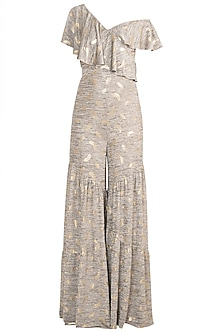 Stone Grey One Shoulder Ruffled Jumpsuit by Babita Malkani
