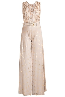 Sand Beige Sequins Flared Jumpsuit by Babita Malkani