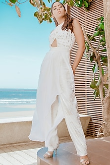 Frosty White Criss-Cross Pleated Jumpsuit by Babita Malkani