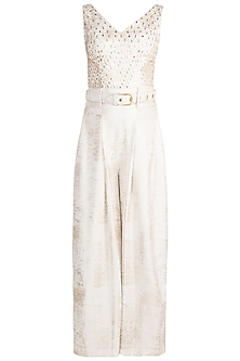 Frosty White Foil Pleated Jumpsuit With Belt by Babita Malkani