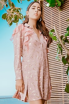 Ash Lavender Ruffled Oversized Shirt Dress by Babita Malkani