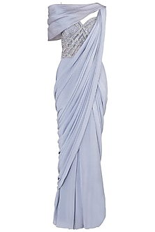 Grey Off Shoulder Gown Saree