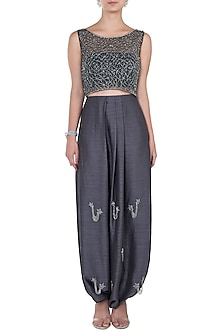Dark Grey Crop Top with Dhoti Pants by Babita Malkani