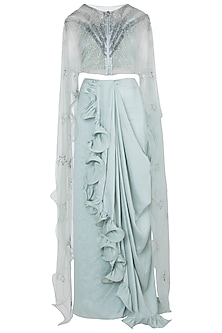 Mint Green Crop Top with Skirt and Cape by Babita Malkani