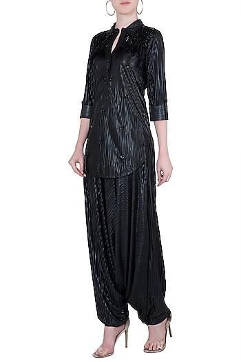 Black embroidered shirt kurta with crotch pants by Babita Malkani