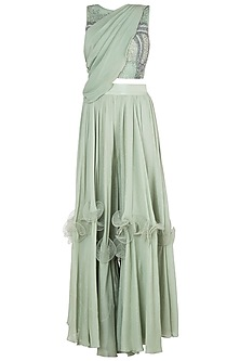 Green embroidered crop top with pants and draped sash by Babita Malkani