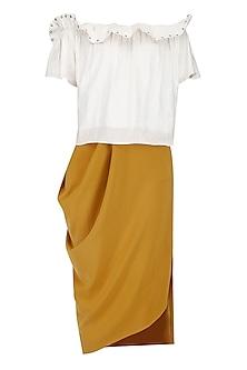 White Rivets Top with Dark Goldenrod Draped Skirt by Babita Malkani
