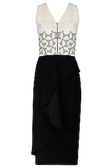 Ivory Metal and Rivet Embroiderycrop Top with Ink Black Skirt by Babita Malkani