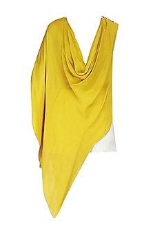 Canary Yellow Cowl Top with White Stylized Fitted Shorts