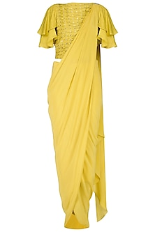 Canary Yellow Drape Saree with Embroidered Ruffle Blouse