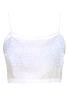 Off White Digital Printed Crop Top by Babita Malkani