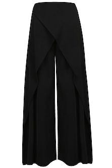 Black Overlap Flared Pants by Babita Malkani