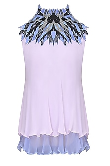 Lilac Thread Embroidered Double Layered High Neck Top by Babita Malkani
