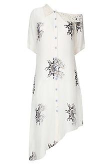 Off White Off Shoulder Digital Printed Shirt by Babita Malkani