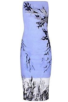 Serenity Blue Placement-Applique Sleeveless Dress by Babita Malkani