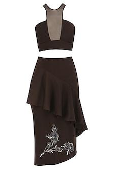 Brunette Brown Crop Top and Ruffled Skirt by Babita Malkani