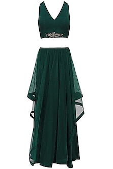 Midnight Green Asymmetrical Lehenga Set
