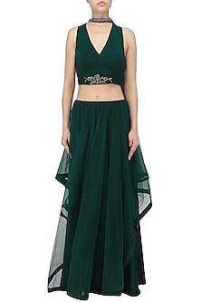 Midnight Green Asymmetrical Lehenga Set by Babita Malkani