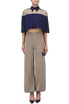 Oxford Blue Collared Pleated Top and Cowled Pants Set by Babita Malkani