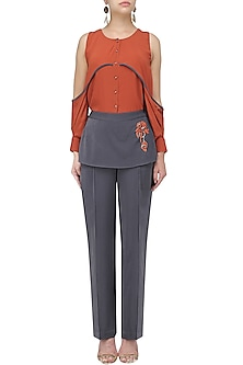 Brick Red Shirt and Anchor Grey Panelled Pants Set by Babita Malkani