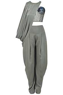 Pewter Grey Cowled Top With Corset and Draped Pants by Babita Malkani
