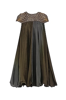 Mocha Brown Ombre Embroidered Dress by Babita Malkani