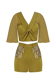 Olive Green Entangled Top and Shorts Set by Babita Malkani