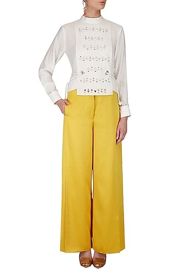 White Rivets Embroidered Top with Yellow Pants by Babita Malkani
