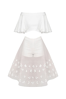White Off Shoulder Ruffle Top and Mesh Skirt Set