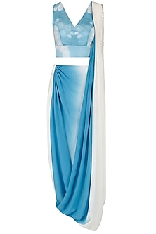 Blue Ombre Shaded Drape Saree and Crop Top Set