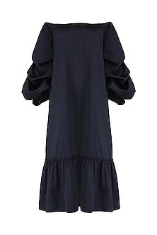 Navy Blue Off Shoulder Dress by Babita Malkani