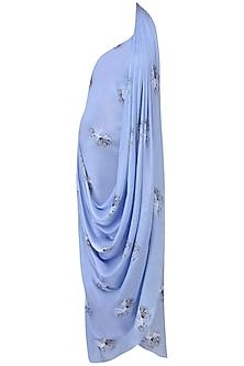 Serenity Blue Floral Printed Drape Saree