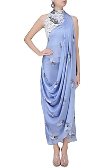 Serenity Blue Floral Printed Drape Saree by Babita Malkani
