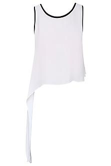 White Asymmetric Cape Top by Babita Malkani