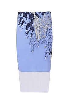 Serenity Blue Thread Work Pencil Skirt by Babita Malkani