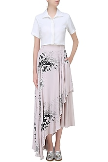 Cafe Du Lait Digital Printed Skirt with Attached Cullotes by Babita Malkani