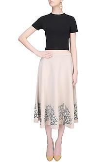 Cafe Du Lait Anchor Thread Motits Circular Skirt by Babita Malkani
