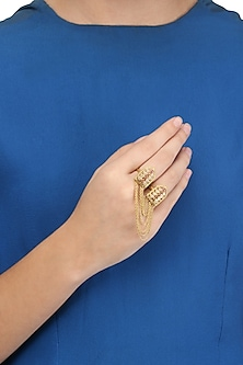 Gold Plated Old Door Motif and Leaf Sillouette Two Finger Ring by Blue Turban