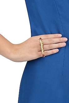 Gold Plated Wire Jali and Bird Motif Three Finger Ring by Blue Turban